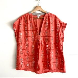 Anthro Blank London Silk Embroidered Blouse Top L